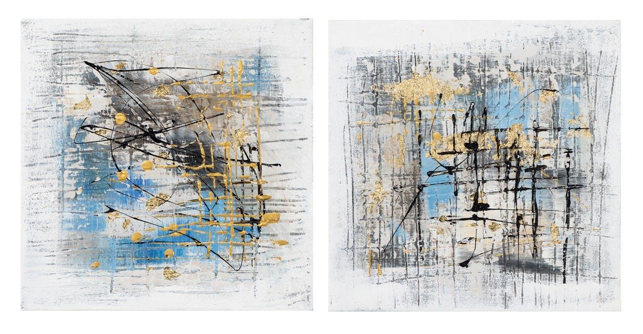 Lot de 2 Tableaux ABSTRAIT tons bleus, blancs, noirs et beiges avec effets dorés 2x 25x25cm