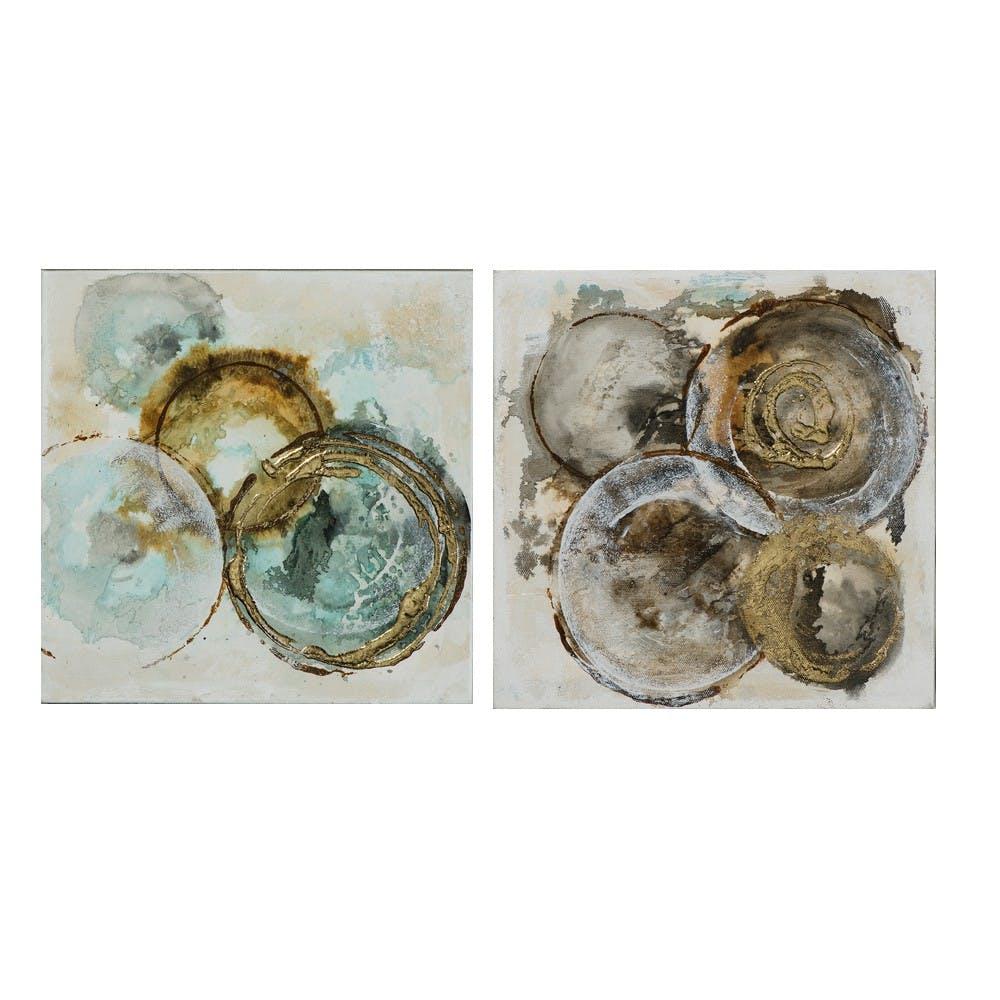 Lot de 2 tableaux ABSTRAIT Cercles peinture acrylique - tons blancs, dorés et argentés 2X 25x25cm