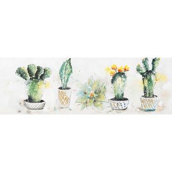 Tableau FLEUR et Cactus en pot multicolore sur fond tons beiges 150x50cm