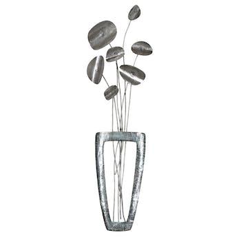 Décoration murale Bouquet de Fleurs dans vase métal tons argentés et grisés 28x100cm
