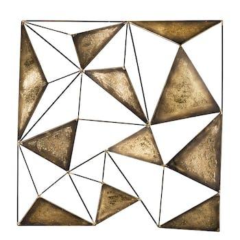 Décoration murale Abstraite Assemblage de Triangles métal tons dorés 81x83cm