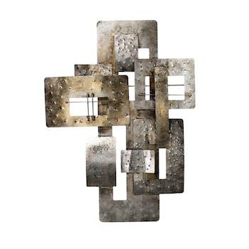 Décoration murale Abstraite Assemblage de Rectangles découpés métal tons dorés, argentés et grisés 59x80cm