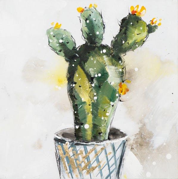 """Tableau Cactus en FLEURS 3 """"Têtes"""" multicolore sur fond tons beiges 40x40cm"""