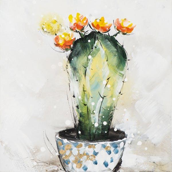 Tableau Cactus en FLEURS multicolore sur fond tons beiges 40x40cm