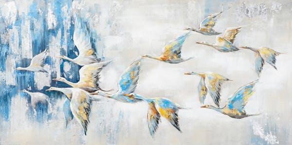 Tableau Envolée D'oiseaux blancs aux ailes dorées et bleues tons beiges, bleus, blancs et gris 140x70cm
