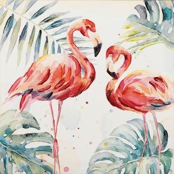 Tableau Flamants Rose Majestueux entourés de Feuilles tropicales tons multicolores 80x80cm