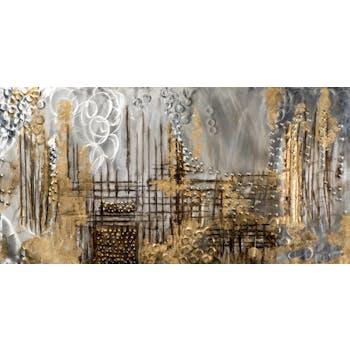 Tableau ABSTRAIT Fabuleux lignes graphiques tons dorés, argentés, gris, beiges et marron 140x70cm
