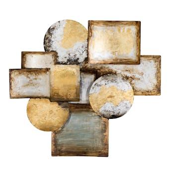 Décoration murale Abstraite Cercles et Rectangles assemblés tons dorés, argentés, beiges et marron 98x98cm