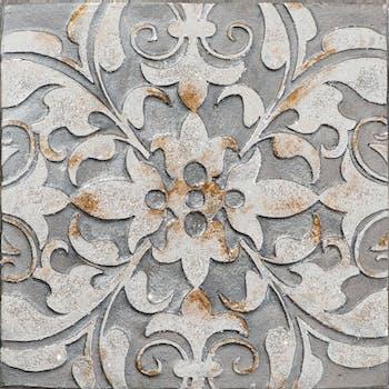 Tableau ABSTRAIT Arabesques tons gris, beiges et ocres 40x40cm
