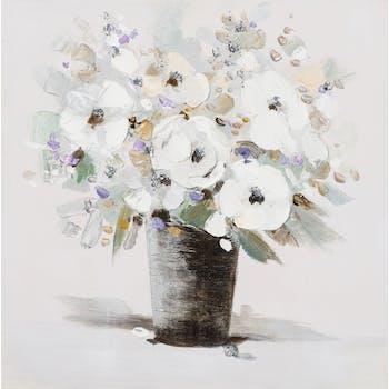 Tableau FLEURS Bouquet blanc et effets violets, beiges, verts, dorés dans pot strié 50x50cm