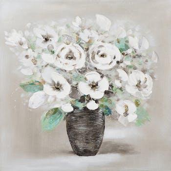 Tableau Bouquet de FLEURS blanches et effets verts, beiges, dorés dans pot strié 50x50cm