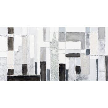 Tableau ABSTRAIT assemblage de Bandes horizontales et verticales tons gris, argentés et noirs 140x70cm