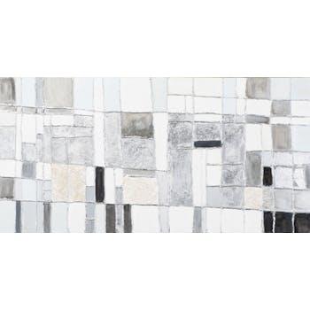 Tableau ABSTRAIT assemblage de Carrés imparfaits tons gris, argentés et noirs 140x70cm
