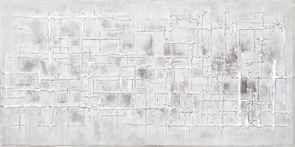 Tableau ABSTRAIT assemblage de Lignes imparfaites tons gris, argentés et beiges 140x70cm