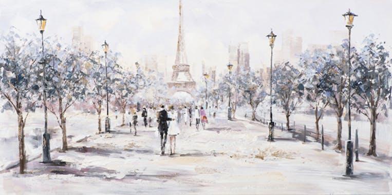 Tableau PAYSAGE Paris et sa Tour Eiffel tons doux 140x70cm
