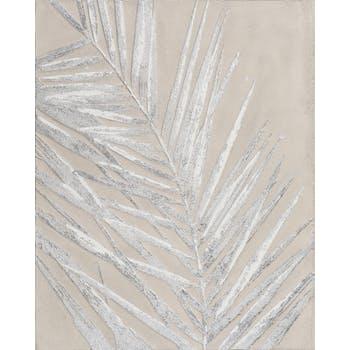 Tableau Feuille de Fougère tons argentés et blancs sur fond tons beiges 80x100cm