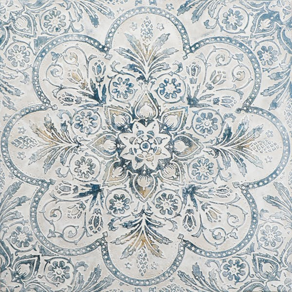 Tableau ABSTRAIT FLEURS de Lys tons bleus et dorés sur fond tons beiges 100x100cm