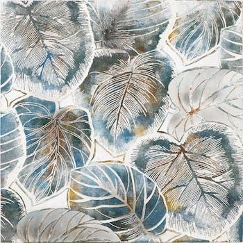 Tableau Feuilles grises avec effets bleutés, ocres, dorés, argentés 100x100cm