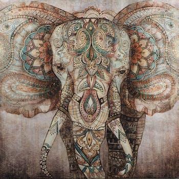 Tableau ANIMAL Eléphant Sacré décor coloré style Indou 90x90cm