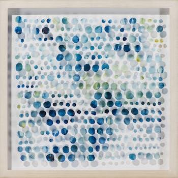 Tableau ABSTRAIT Points irréguliers tons bleus, gris, verts et jaunes 54x54cm