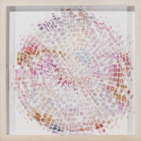 Tableau ABSTRAIT Cercle de Tâches irrégulières tons rosés, beiges, dorés, bleus et gris 54x54cm