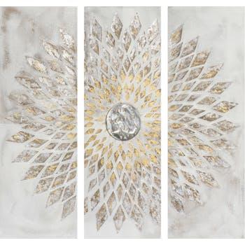 Tableau Triptyque ABSTRAIT Triangles assemblés en Rosace tons argentés, dorés gris et beiges 120x120cm