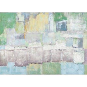 Tableau ABSTRAIT Pastel tons verts, bleus, gris, jaunes, blancs et beiges 140x100cm