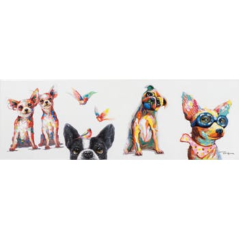 Tableau POP-ART Chiens Rigolos couleurs intenses 120x40cm