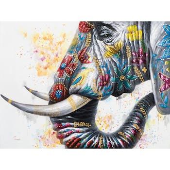 Tableau ANIMAL Tête d'Eléphant de profil décoré de fleurs multicolores 120x90cm
