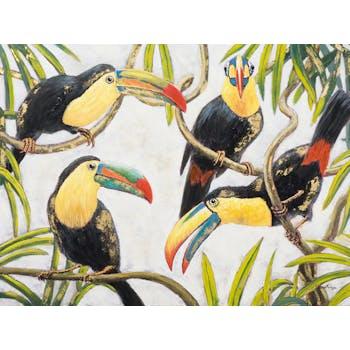 Tableau Pelicans multicolores sur branches 120x90cm