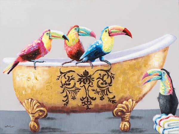 Tableau Pelicans couleurs vives sur Baignoire tons dorés et arabesques 120x90cm