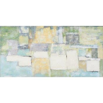 Tableau ABSTRAIT Assemblage élements Pastels tons verts, bleus, gris, jaunes, blancs et beiges 140x70cm