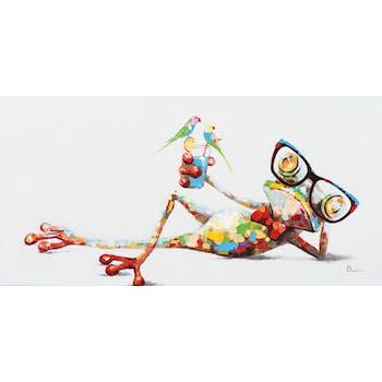 Tableau ANIMAL POP-ART Grenouille à lunettes en position relaxante avec son cocktail couleurs vives 120x60cm