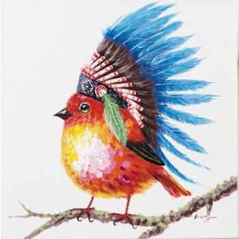 Tableau ANIMAL POP-ART Oiseau avec sa coiffe d'Indien multicolore couleurs vives 40x40cm