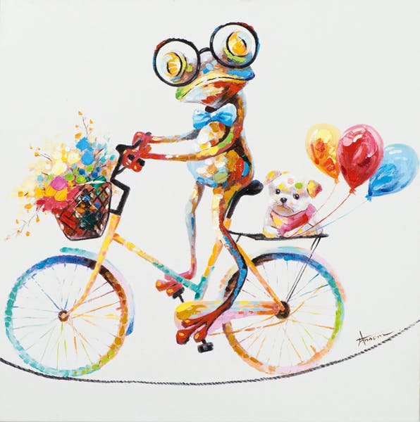Tableau ANIMAL POP-ART Grenouille multicolore à vélo promenant son Chien couleurs vives 70x70cm