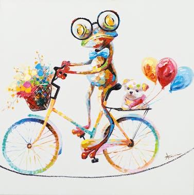 Tableau ANIMAL POP-ART Grenouille multicolore à vélo promenant son Chien couleurs vives 70x70cm