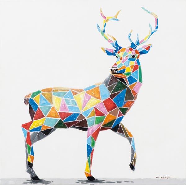 Tableau ANIMAL POP-ART Cerf Majestueux en Mozaic de couleurs vives 70x70cm