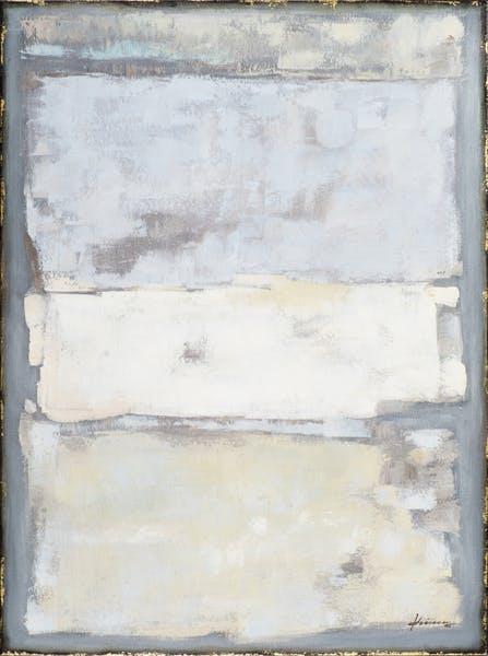 Tableau ABSTRAIT Effets tons gris, gris bleutés, beiges, dorés, gris et blancs 90x120cm