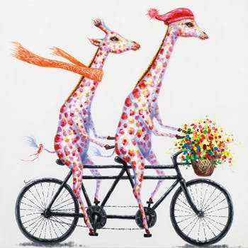 Tableau ANIMAL POP-ART Girafes multicolores sur un Tandem fleuri 100x100cm