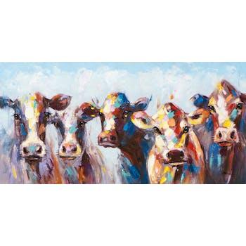 Tableau ANIMAL POP-ART Vaches multicolores 140x70cm