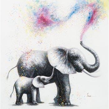 Tableau ANIMAL POP-ART Elephant et son bébé soufflant des couleurs avec sa trompe 80x80cm