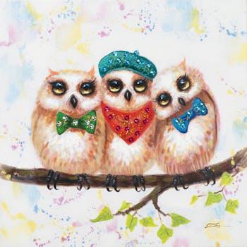 Tableau ANIMAL POP-ART Chouettes rigolotes en tenue de soirée couleurs vives 60x60cm