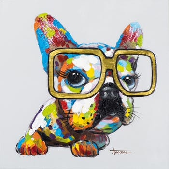 Tableau ANIMAL POP-ART Bulldog multicolore à Lunettes couleurs vives 60x60cm