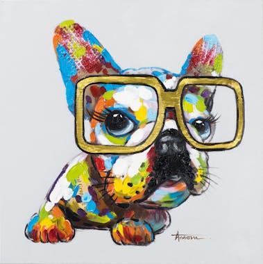 Tableau ANIMAL POP-ART Bulldog multicolore à Lunettes couleurs vives 60x60cm