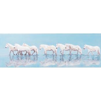 Tableau ANIMAL MARINE Chevaux majestueux blancs se promenant dans l'eau 150x50cm