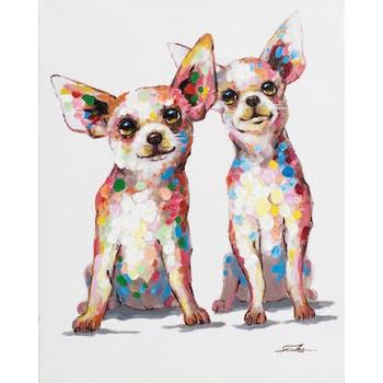 Tableau ANIMAL POP-ART Chiens Rigolos aux grandes oreilles couleurs vives multicolores 40x50cm