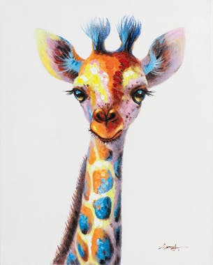 Tableau ANIMAL POP-ART Bébé Girafe couleurs vives multicolores 40x50cm