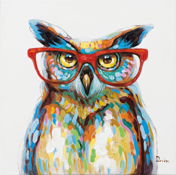 Tableau ANIMAL POP-ART Hibou Grand Duc à lunettes couleurs vives multicolores 40x40cm