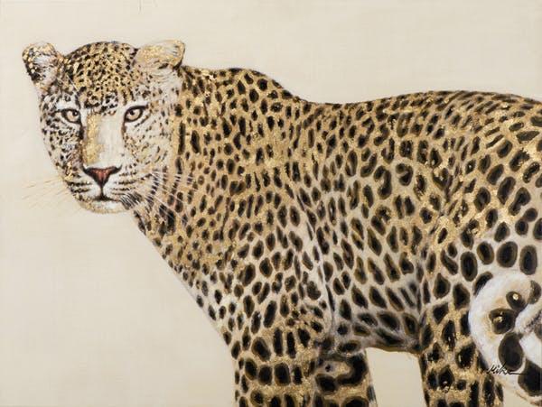 Tableau ANIMAL Léopard tons dorés et noirs 120x90cm