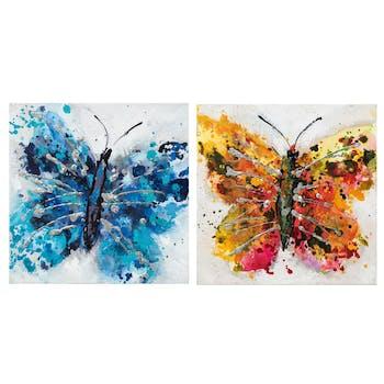 Lot de 2 Tableaux ANIMAL POP-ART Papillon couleurs vives, bleu et orangé rosé 2x 25x25cm